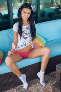 Gorgeous Alecto wearing white socks in Candy Fun by MetArt X.