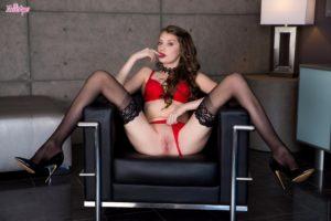 Elena Koshka pulls panties aside.