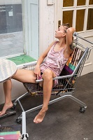 Lara Sugar looking hhorny in a shopping cart.